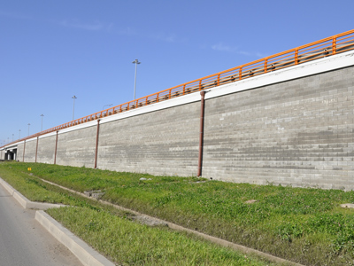 Retaining walls for road and railways embankments Tenax Rivel and Tenax T-Block Systems